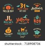 halloween logo templates ... | Shutterstock .eps vector #718908736