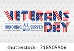 us veterans day greeting card.... | Shutterstock .eps vector #718909906