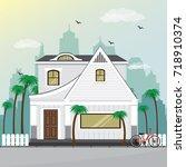 stylish modern house facade... | Shutterstock .eps vector #718910374