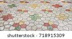 pavement of concrete pavement...   Shutterstock . vector #718915309