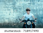 handsome young men with black... | Shutterstock . vector #718917490