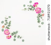 floral frame of pink roses and... | Shutterstock . vector #718921570