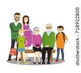 big cartoon family isolated on... | Shutterstock .eps vector #718922800