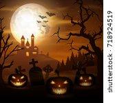 halloween background with... | Shutterstock . vector #718924519