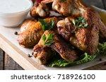 close up photo of bbq chicken... | Shutterstock . vector #718926100