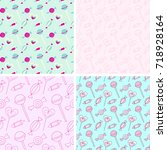 doodle pattern candy vector | Shutterstock .eps vector #718928164