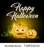 halloween greeting card with... | Shutterstock .eps vector #718932610
