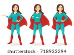 superhero woman set | Shutterstock .eps vector #718933294