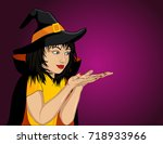halloween.happy woman in hat... | Shutterstock .eps vector #718933966