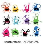 set of twelve cute color... | Shutterstock .eps vector #718934296