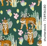 seamless tiger in different... | Shutterstock . vector #718936180
