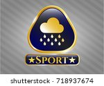 gold badge with rain icon and... | Shutterstock .eps vector #718937674