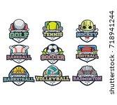 9 sport simple logo team vector | Shutterstock .eps vector #718941244