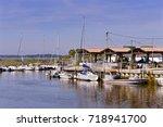 ostreicole harbor of andernos... | Shutterstock . vector #718941700