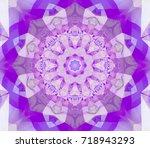 geometric kaleidoscope magenta... | Shutterstock . vector #718943293