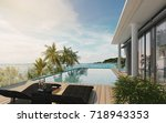 sea view swimming pool in... | Shutterstock . vector #718943353