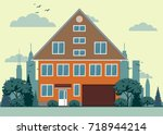 suburban house  cottage with... | Shutterstock .eps vector #718944214