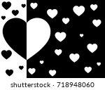 heart black and white... | Shutterstock .eps vector #718948060
