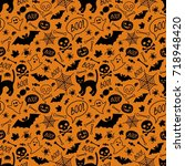 halloween festive seamless... | Shutterstock .eps vector #718948420