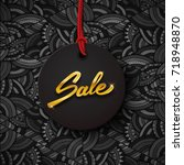 sale black tag with gold text ... | Shutterstock .eps vector #718948870