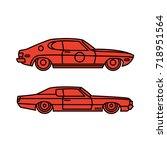 two graphic flat vector orange...   Shutterstock .eps vector #718951564