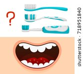 cartoon mouth and choice... | Shutterstock .eps vector #718951840