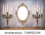 retro old makeup mirror frame... | Shutterstock . vector #718952134