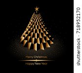 abstract golden christmas tree... | Shutterstock .eps vector #718952170