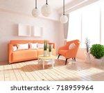 white room interior. 3d... | Shutterstock . vector #718959964