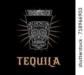 tequila bar logo. vector... | Shutterstock .eps vector #718966903