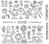 vector set with hand drawn... | Shutterstock .eps vector #718968733