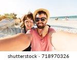 outdoor self portrait of  young ... | Shutterstock . vector #718970326