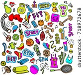 sports hand draw icon and... | Shutterstock .eps vector #718972678