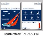 yacht club flyer design with... | Shutterstock .eps vector #718973143