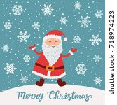 merry christmas. santa claus in ... | Shutterstock .eps vector #718974223