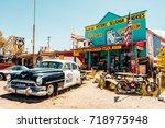 seligman. arizona. 28th august  ... | Shutterstock . vector #718975948