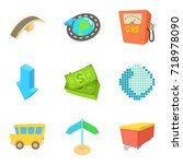 fuel business icons set.... | Shutterstock .eps vector #718978090