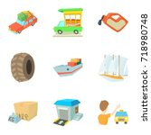 locomotion icons set. cartoon... | Shutterstock .eps vector #718980748