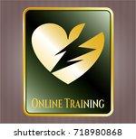 golden badge with broken heart ... | Shutterstock .eps vector #718980868
