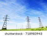 landscape of power line of the... | Shutterstock . vector #718983943