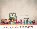 retro old toys  wooden house... | Shutterstock . vector #718984879