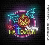 happy halloween greeting card...   Shutterstock .eps vector #718986319