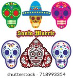 holy death  day of the dead ... | Shutterstock .eps vector #718993354