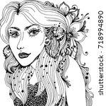 vector beautiful girl face in... | Shutterstock .eps vector #718994890