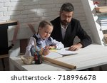 classroom and home education... | Shutterstock . vector #718996678