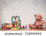 retro old toys  teddy bear ... | Shutterstock . vector #718996993