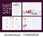 set  habit tracker  wish list... | Shutterstock .eps vector #719003920