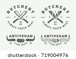set of vintage butchery meat ... | Shutterstock .eps vector #719004976