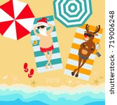 christmas holiday 2018. santa... | Shutterstock .eps vector #719006248