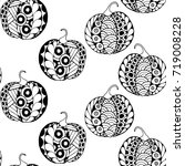 seamless halloween pattern.... | Shutterstock .eps vector #719008228